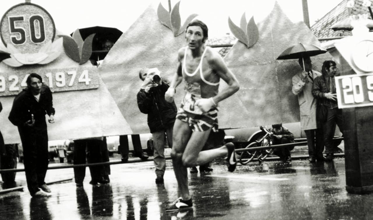 Ron Hill lors du marathon de Boston en 1970