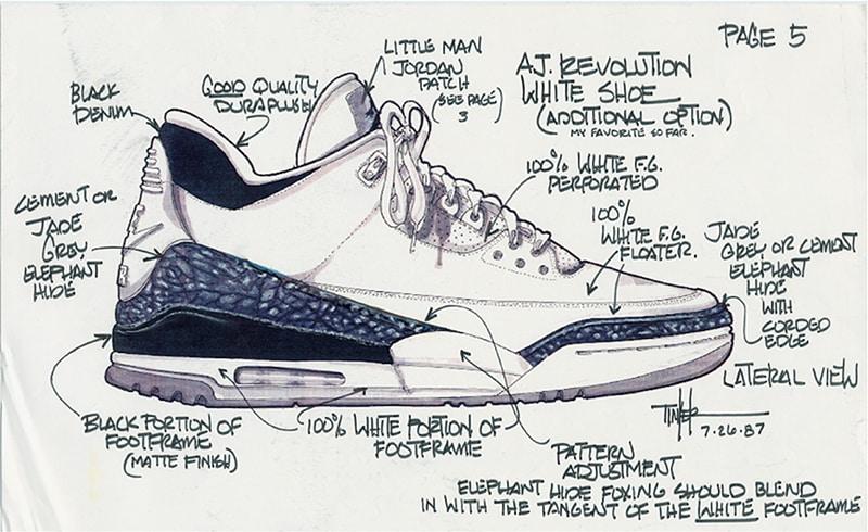Croquis de la Air Jordan 3 réalisé par Tinker Hatfield