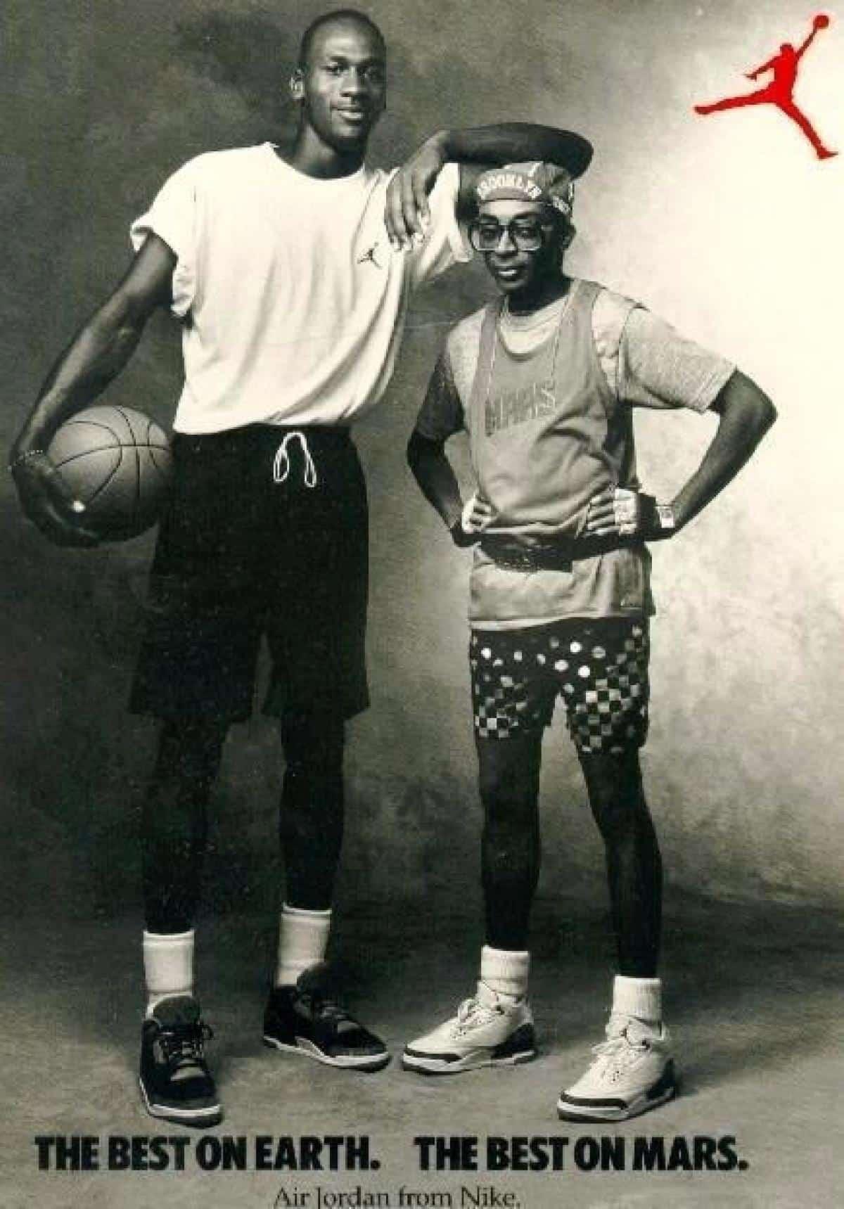 Affiche publicitaire avec Michael Jordan et Spike Lee pour la Air Jordan III