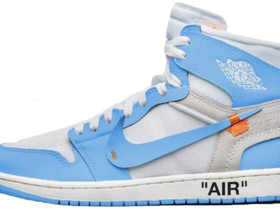 "Off-White x Nike Air Jordan 1 ""Dark Powder Blue"""