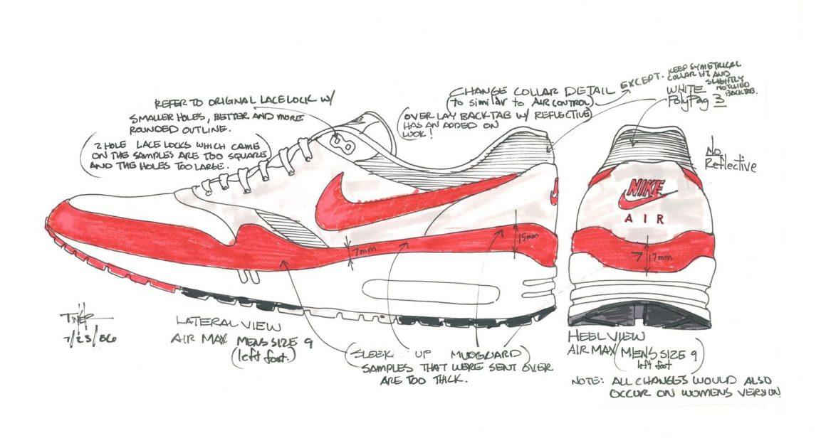 Nike Air Max 1 - Croquis originaux de Tinker Hatfield