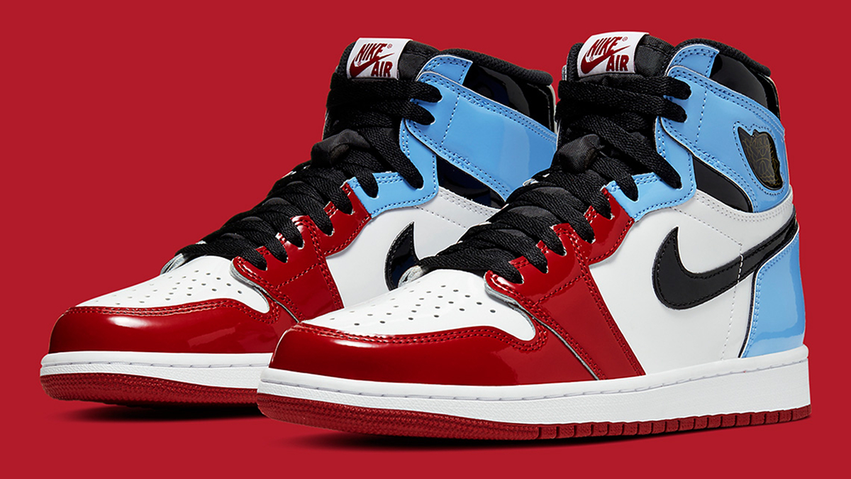 air jordan 1 bleu rouge vernis