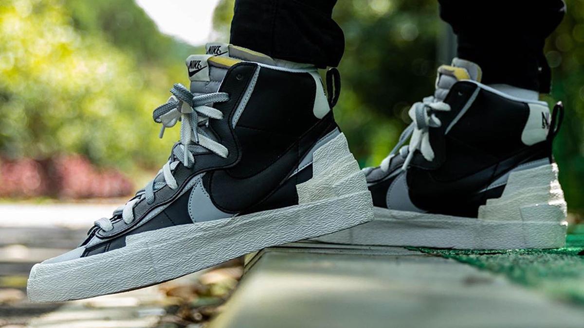 SACAI x Nike Blazer Mid ''BackWolf GreyWhite'' Sneaker Style