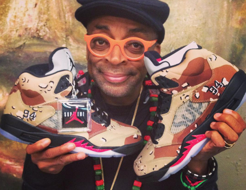 Spike Lee et ses SUPREME x Air Jordan 5 ''Desert Camo''