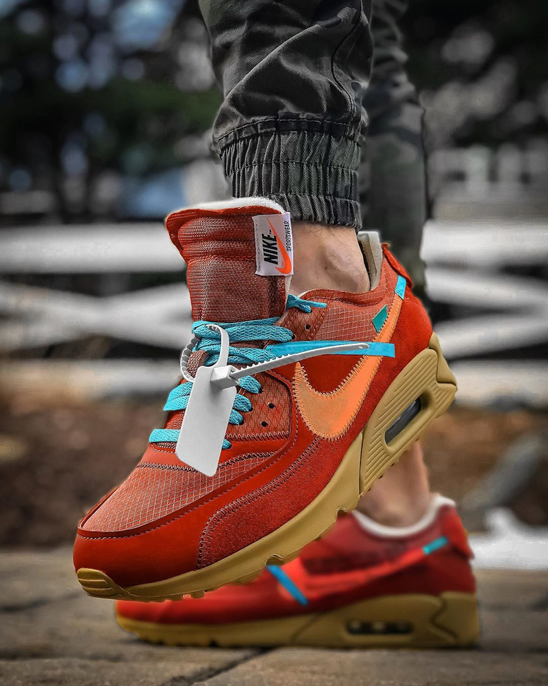 Off White x Nike Air Max 90 ''University Red'' Sneaker Style