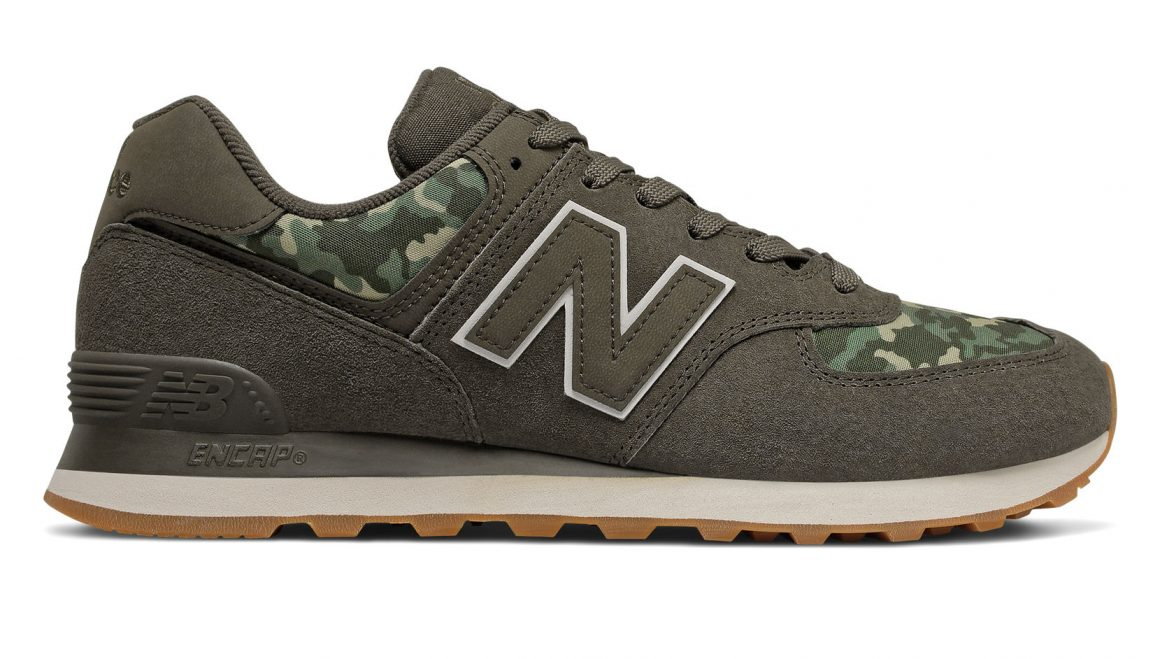 New Balance 574 ''Camo'' - Black Olive with Moonbeam