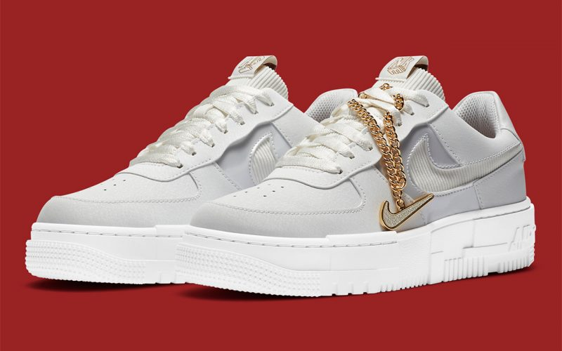 Nike WMNS Air Force 1 Low Pixel ''Grey Gold Chain'' - DC1160-100