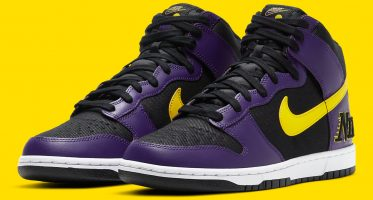 NikeDunk High EMB ''Lakers''