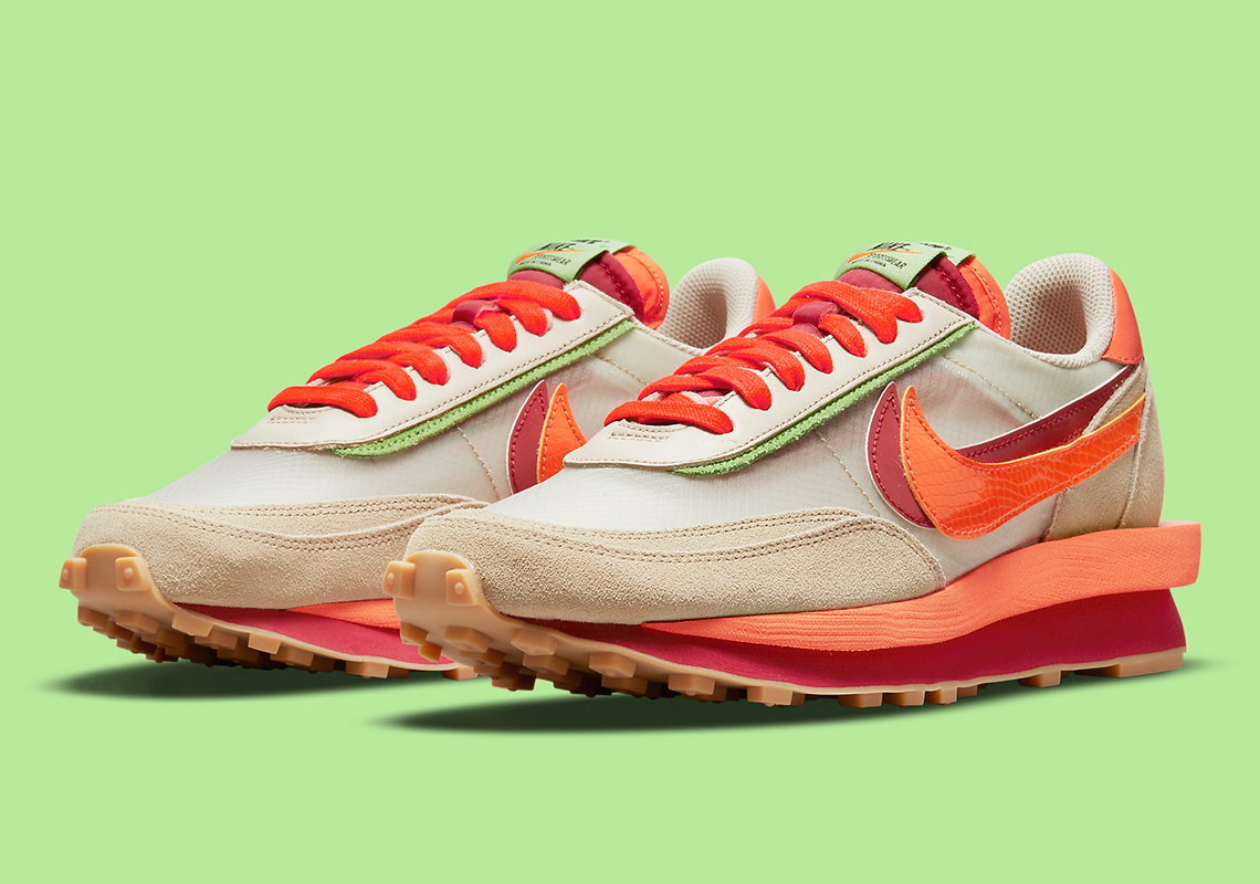 CLOT x Sacai x Nike LDWaffle ''Orange Blaze'' - DH1347-100