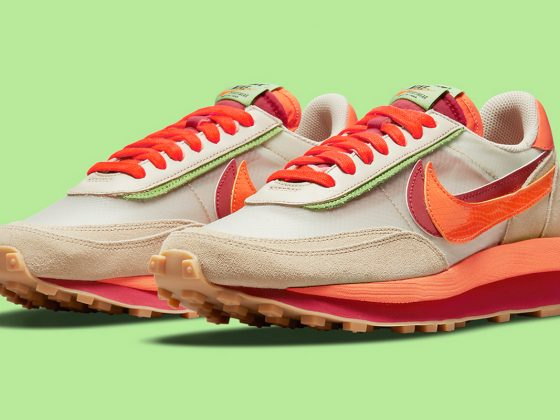CLOT x nike air max tempo cool grey shoes for women LDWaffle ''Orange Blaze'' - DH1347-100