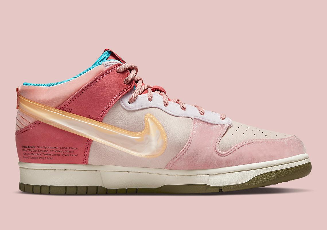 Social Status x Nike Dunk Mid ''Strawberry Milk'' - DJ1173-600